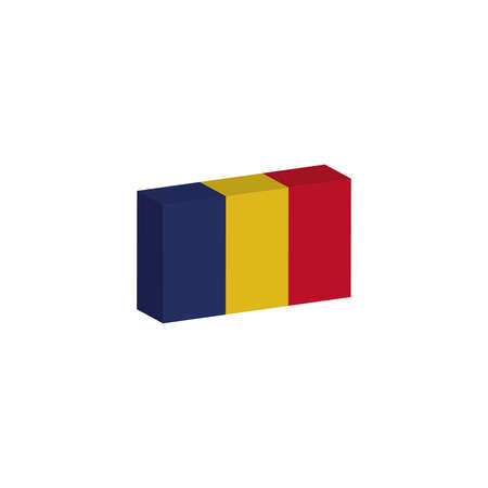 3d isometric flag Illustration of the country of Romania