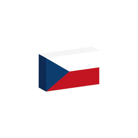 3D isometric flag Illustration of the country of Czech Republic Çizim
