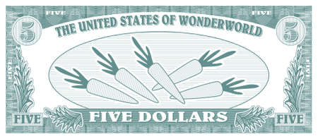 one dollar bill: Children game money - 5 dollars bill - back Illustration