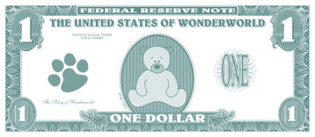 american currency: Children game money - one dollar bill - front