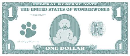 Dinero - proyecto de ley de un dólar - frente de juego de los niños