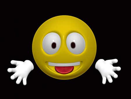Happy Smiley on black background Stock Photo - 8458208