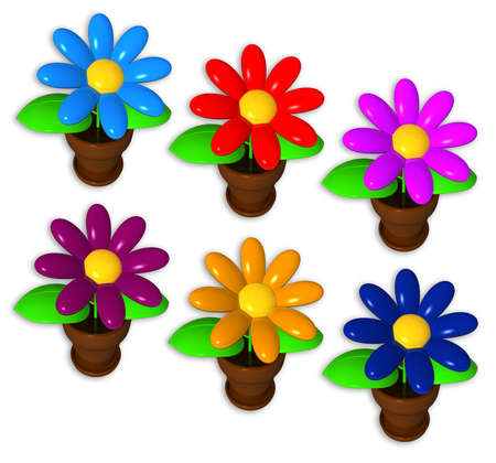 synthetic flowers on the white background, different colors, isolated photo