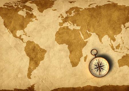 cartina del mondo: Vecchia mappa e bussola - 3D generati Archivio Fotografico