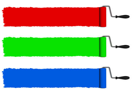 red paint roller: trails of roller, red, green, blue