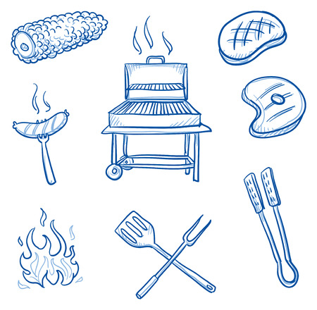 dinner party: Set of barbecue icons