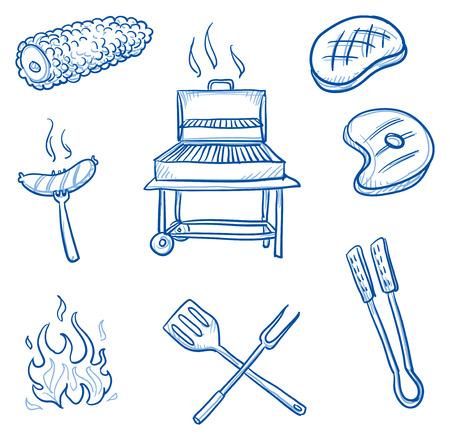 brandweer cartoon: Set van barbecue iconen Stock Illustratie