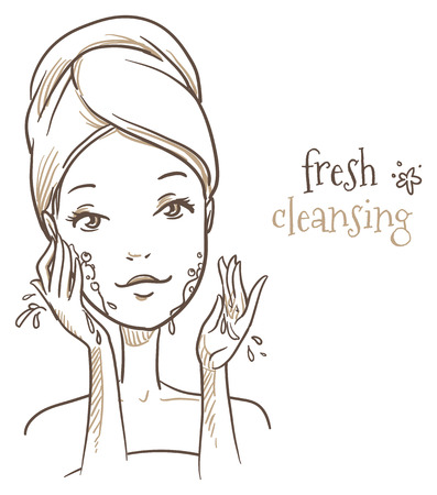 woman washing face: Beautiful woman washing her face before makeup
