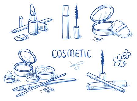 lip stick: Icon Item Set cosmetic Hand drawn doodle
