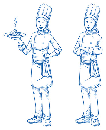 scribe: Happy and sad young female cook with a fresh meal  Illustration