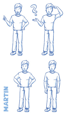 scribe: Casual man illustration in different emotions