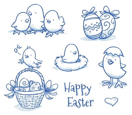 draw: Cute easter icon and chick collection
