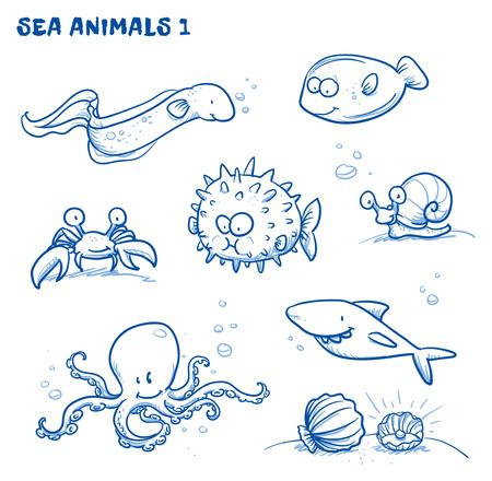 cangrejo: Animales de agua de mar de dibujos animados lindo. Vectores