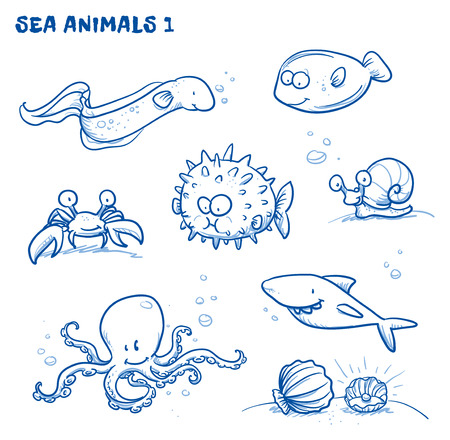 tiburon caricatura: Animales de agua de mar de dibujos animados lindo. Vectores