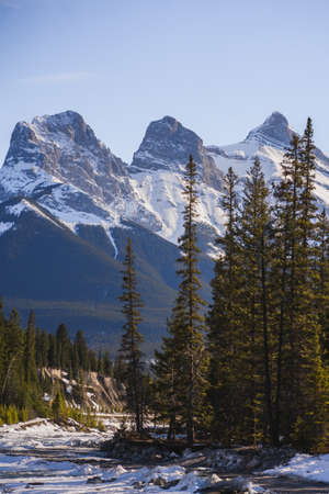 Canada scenic Landscape view with The Three Sisters Peaks, landmark in Canmore, Alberta