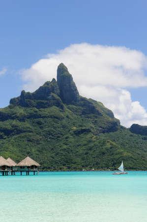 borabora: Borabora Sailing in the lagoon with Otemanu mount at the bottom of the image