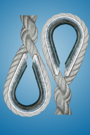 splice:  A metal ring around which a rope splice is passed to prevent chafing