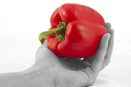 A hand held red pepper,colour popped Stock Photo - 5943086