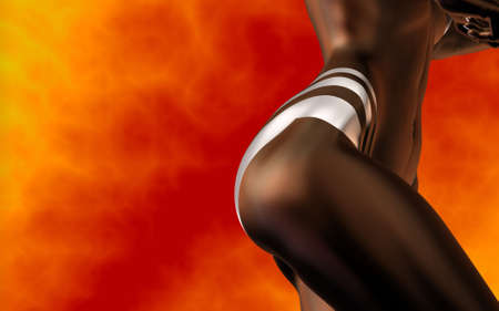 3d nude: perfect body dancer on fire background - african - latino