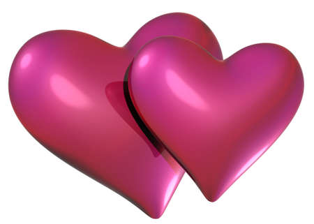 two red pink metal hearts - love sign icon