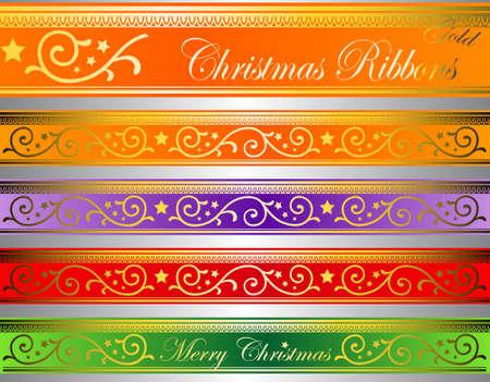 nobel: ilustraci�n vectorial floral de Navidad iluminado en cintas de vidrio