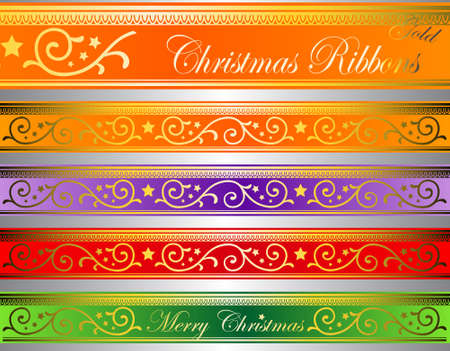 vector illustration of floral christmas ribbons on lighted glass