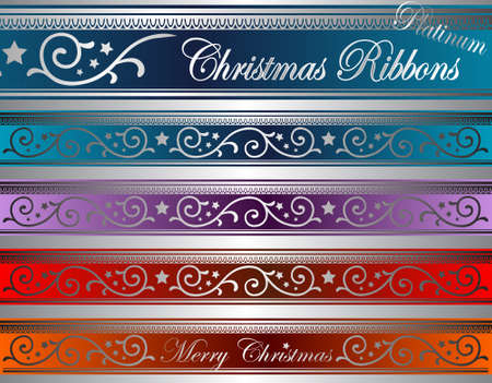 lighted: vector illustration of floral christmas ribbons on lighted glass