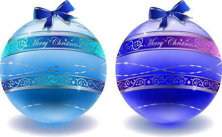 feliz: noble blue and cyan glass balls with floral decoration isolated on white Illustration