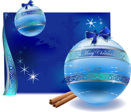 vector illustration of cyan flat glass balls with silver floral decoration ( with cinnamon and greeting card) Illustration