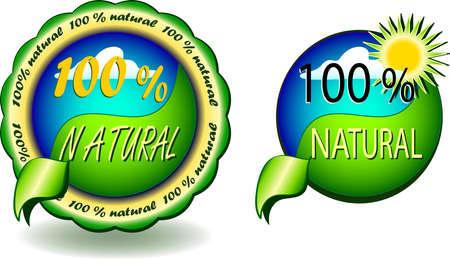 vector illustration icon, sign off - 100 % natural Illustration