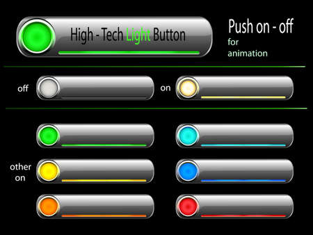 web light button - good for flash animation - push on or off - illuminated in different colors