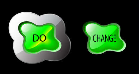 green glowing button, splash form - do change to be different Illustration