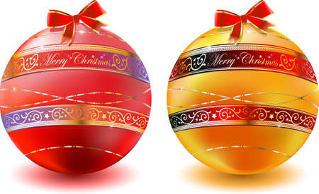 fondos: vector illustration of christmas balls with gold floral decoration