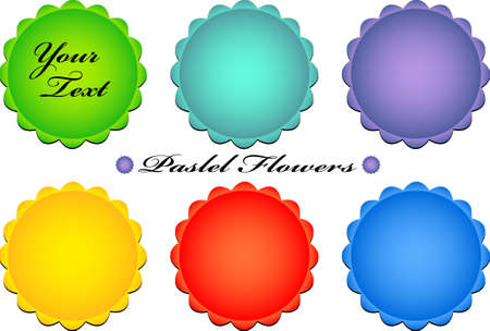 vector illustration of pastel color floral icons - simple and clear