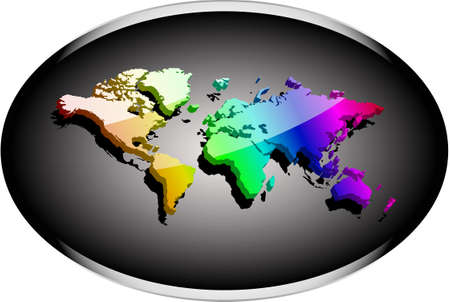 earth map 3d rainbow colored with reflective surface