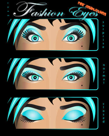 beautiful cyan female eyes in surprise, normal and closed look Illustration