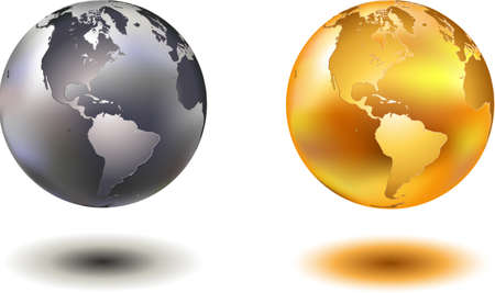 golden globe: vector illustration off noble hovering chrome and golden glass world globe Illustration