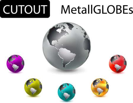 metal cutout globes Vector