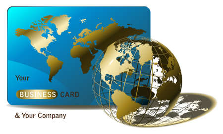 golden globe and business card for agencies or web