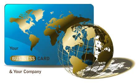 bank overschrijving: Gouden wereld bol en een visite kaartje voor agentschappen of web