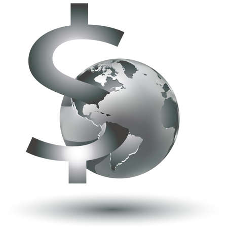 vector illustration of a global money dependence world even for business Vector