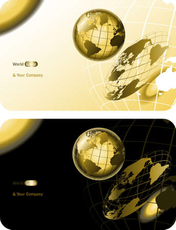 golden globe: scientific background with golden world globe for companies Illustration