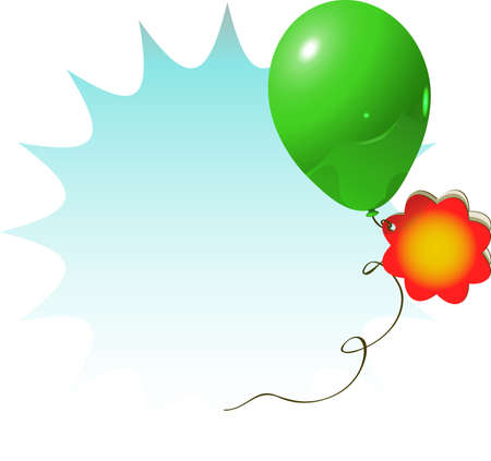 vector illustration for celebration or advertisement with green balloon and flower card