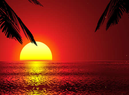 horizon reflection: golden sunset with palms (palms removeable vector)