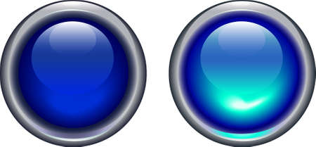 shiny button: vector illustration of blue led light button on and off