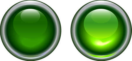 energy buttons: vector illustration of green led light button on and off