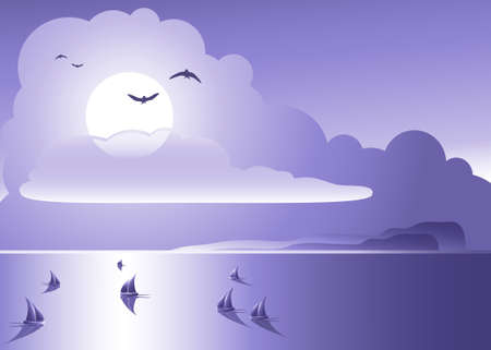 sailing ships on open ocean with cloudy sky and birds making a romantic scenery Illustration