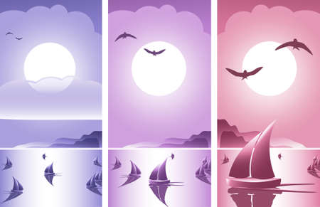 set of sailing ships on open ocean with cloudy sky and birds making a romantic scenery Vector