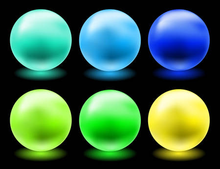 set of glowing magic glass balls for individual use Vector
