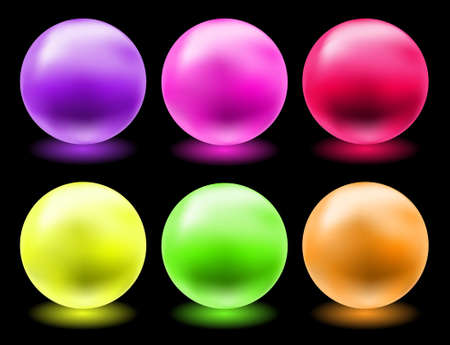 shiny buttons: set of glowing magic glass balls for individual use Illustration